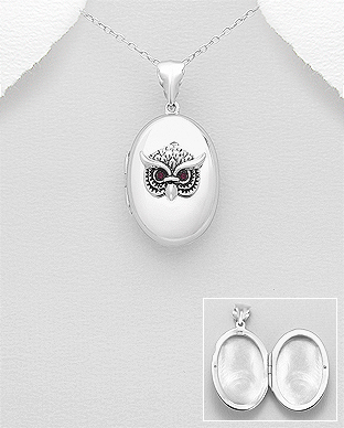 Sterling Silver Rhodium-plated Oxidized w//MOP /& CZ Pendant