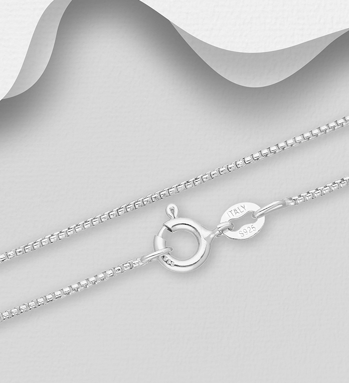 Best Designer Jewelry Sterling Silver Rhodium-plated 1.25mm Box Chain