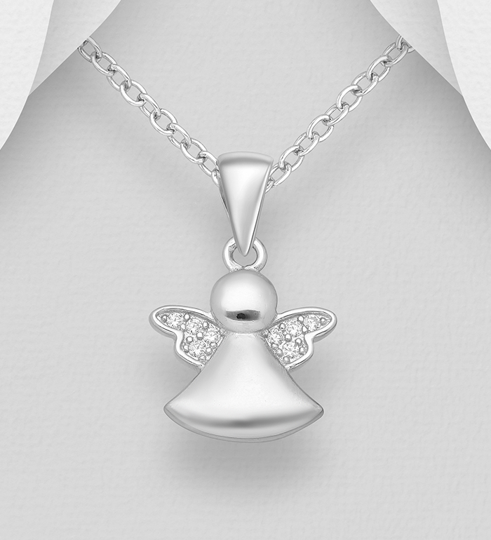 Sterling Silver Angel Yellow CZ Heart Charm Pendant